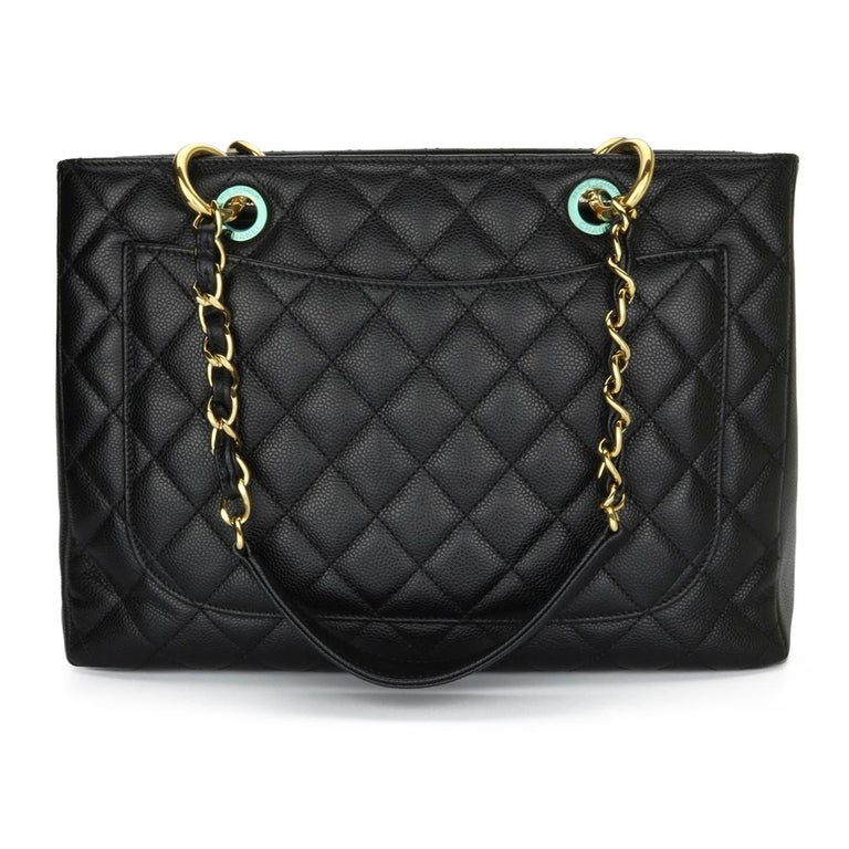 CHANEL Grand Shopping Tote (GST) Bag Black Caviar with Gold Hardware 2011 In Good Condition For Sale In Huddersfield, GB