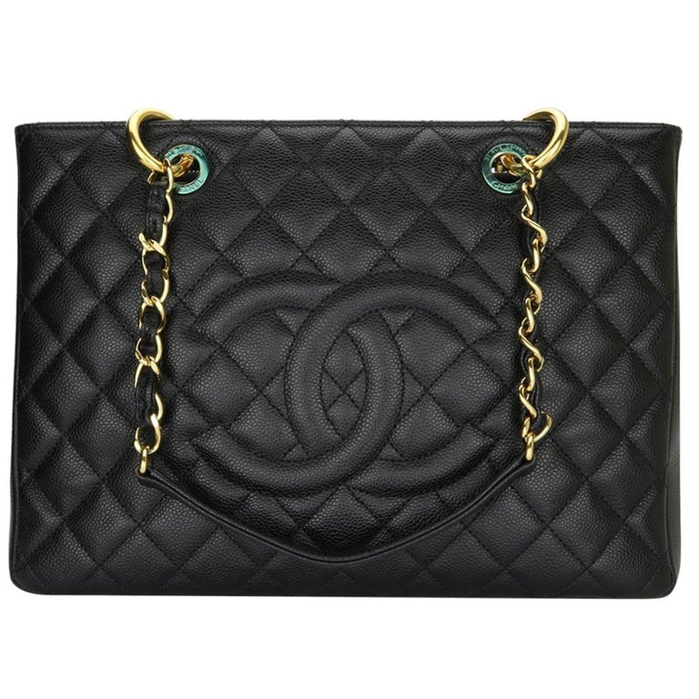 CHANEL Grand Shopping Tote (GST) Bag Black Caviar with Gold Hardware 2011 For Sale