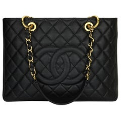 CHANEL Grand Shopping Tote (GST) Bag Black Caviar with Gold Hardware 2012