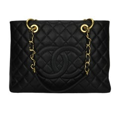 CHANEL Grand Shopping Tote (GST) Bag Black Caviar with Gold Hardware 2013