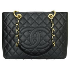 CHANEL Grand Shopping Tote (GST) Bag Black Caviar with Gold Hardware 2015