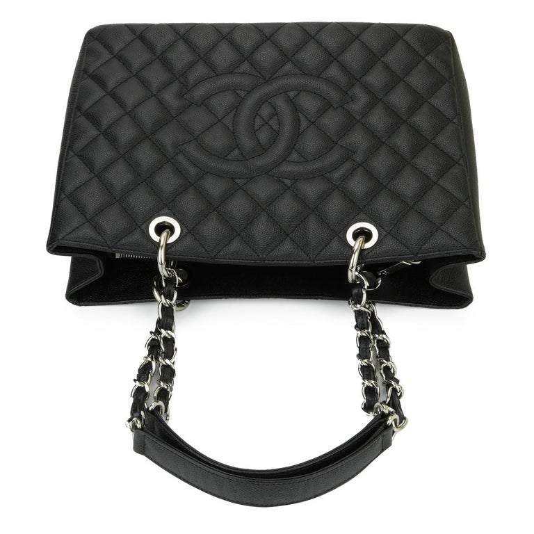 CHANEL Grand Shopping Tote (GST) Bag Black Caviar with Silver Hardware 2013 For Sale 7