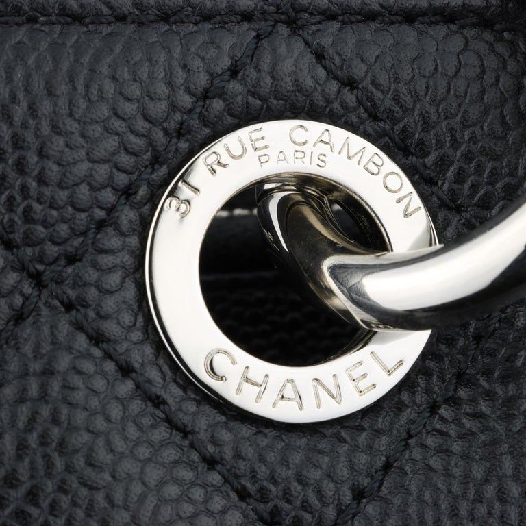 CHANEL Grand Shopping Tote (GST) Bag Black Caviar with Silver Hardware 2013 For Sale 8