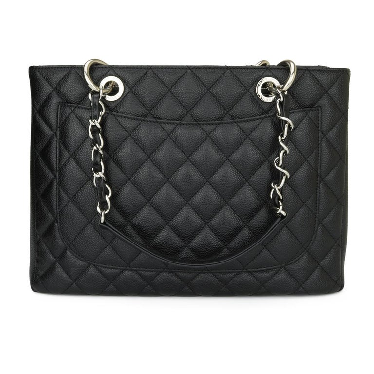 CHANEL Grand Shopping Tote (GST) Bag Black Caviar with Silver Hardware 2013 In Excellent Condition For Sale In Huddersfield, GB