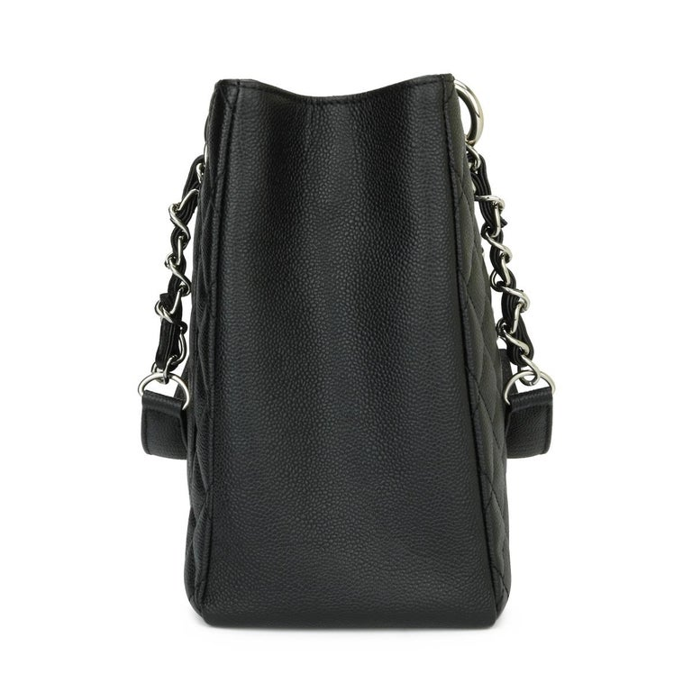 Women's or Men's CHANEL Grand Shopping Tote (GST) Bag Black Caviar with Silver Hardware 2013 For Sale