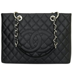 CHANEL Grand Shopping Tote (GST) Bag Black Caviar with Silver Hardware 2013