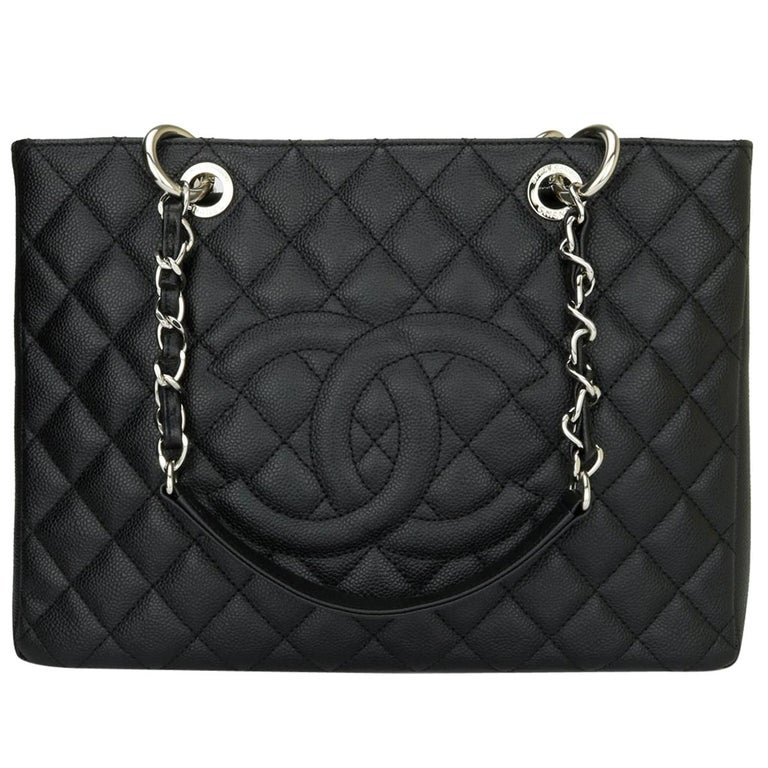 CHANEL Grand Shopping Tote (GST) Bag Black Caviar with Silver Hardware 2013 For Sale