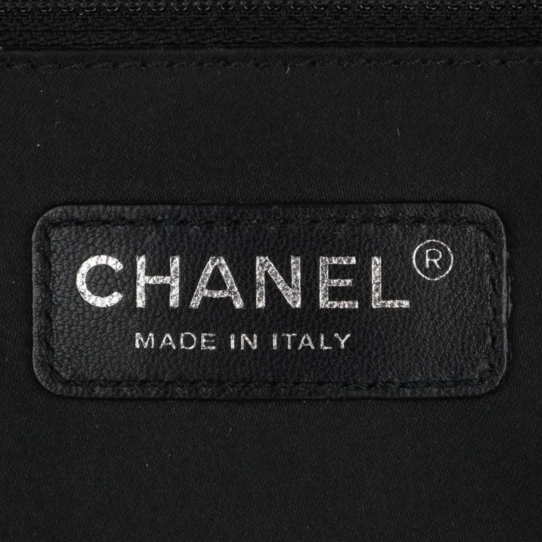 CHANEL Grand Shopping Tote (GST) Bag Black Caviar with Silver Hardware 2014 For Sale 11