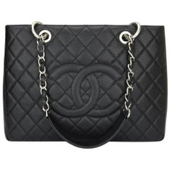 CHANEL Grand Shopping Tote (GST) Bag Black Caviar with Silver Hardware 2014