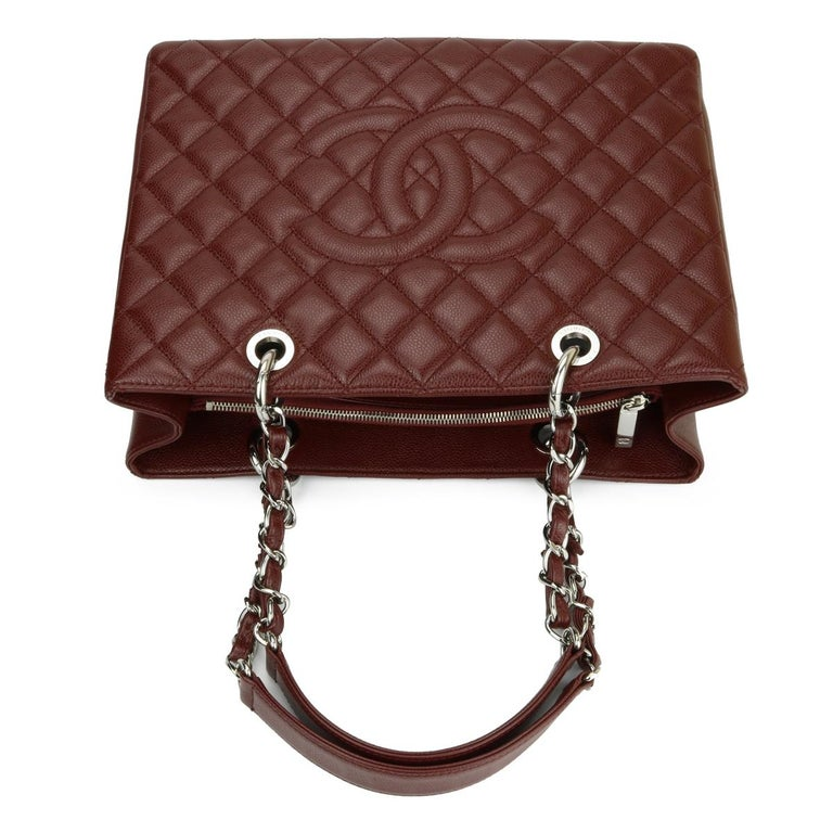 CHANEL Grand Shopping Tote (GST) Bag Burgundy Caviar with Silver Hardware 2014 For Sale 7