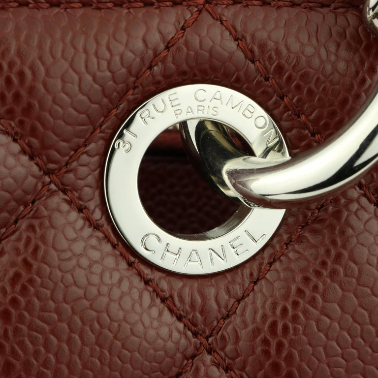 CHANEL Grand Shopping Tote (GST) Bag Burgundy Caviar with Silver Hardware 2014 For Sale 8