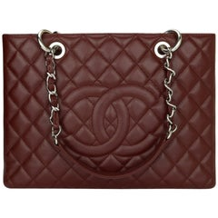CHANEL Grand Shopping Tote (GST) Bag Burgundy Caviar with Silver Hardware 2014