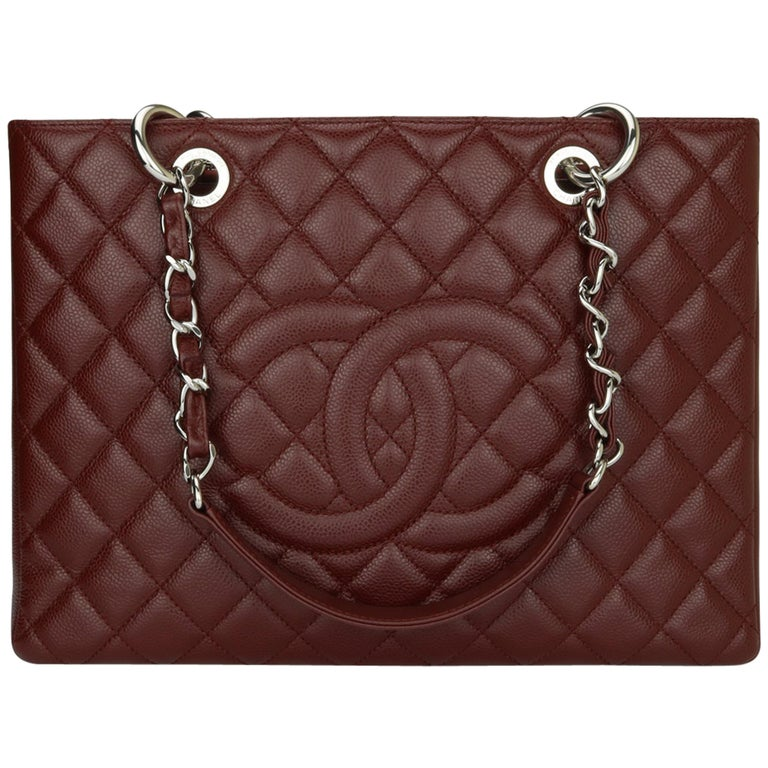 CHANEL Grand Shopping Tote (GST) Bag Burgundy Caviar with Silver Hardware 2014 For Sale
