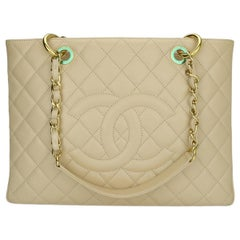 CHANEL Grand Shopping Tote (GST) Beige Clair Caviar with Gold Hardware 2011