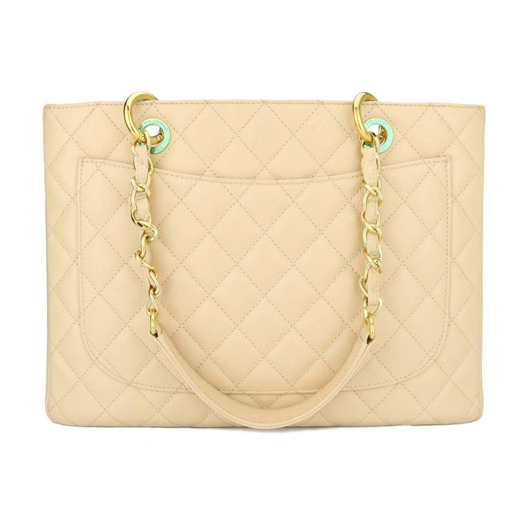 b4c018a94f84a0 Authentic CHANEL Grand Shopping Tote (GST) Beige Clair Caviar with Gold  Hardware 2013.