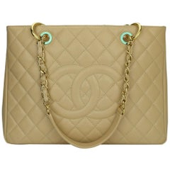 CHANEL Grand Shopping Tote (GST) Beige Clair Caviar with Gold Hardware 2014
