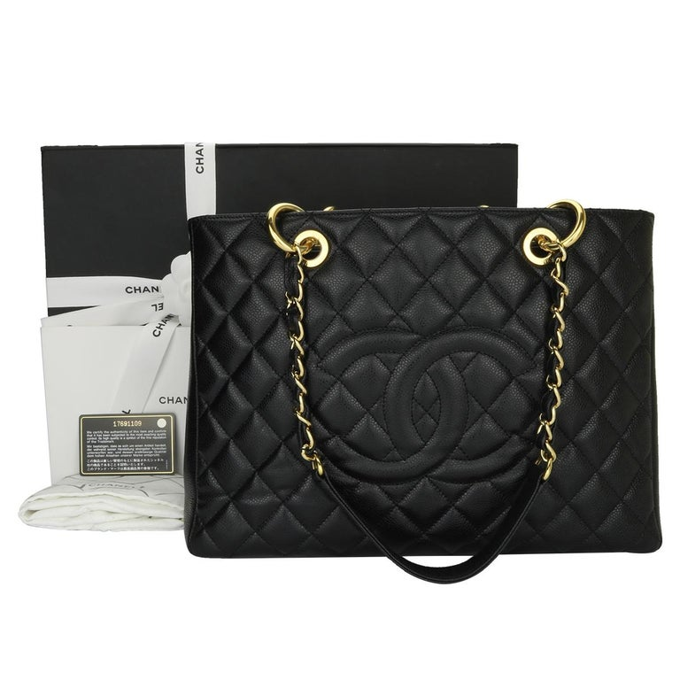 a512cb68b3b0 Authentic CHANEL Grand Shopping Tote (GST) Black Caviar with Gold Hardware  2013. This