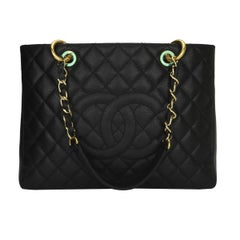 CHANEL Grand Shopping Tote (GST) Black Caviar with Gold Hardware 2013