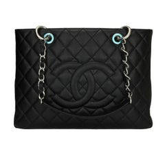 CHANEL Grand Shopping Tote (GST) Black Caviar with Silver Hardware 2013
