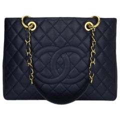CHANEL Grand Shopping Tote (GST) Navy Caviar with Gold Hardware 2014