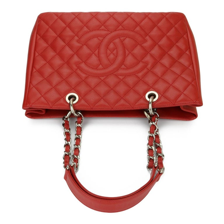 CHANEL Grand Shopping Tote (GST) Red Caviar with Silver Hardware 2011 For Sale 7