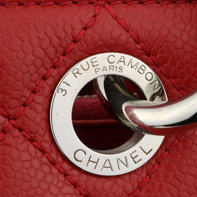CHANEL Grand Shopping Tote (GST) Red Caviar with Silver Hardware 2011 For Sale 8