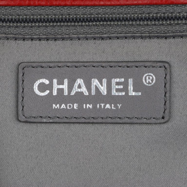 CHANEL Grand Shopping Tote (GST) Red Caviar with Silver Hardware 2011 For Sale 11