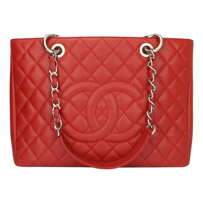 CHANEL Grand Shopping Tote (GST) Red Caviar with Silver Hardware 2011 For Sale