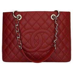 CHANEL Grand Shopping Tote (GST) Red Caviar with Silver Hardware 2013