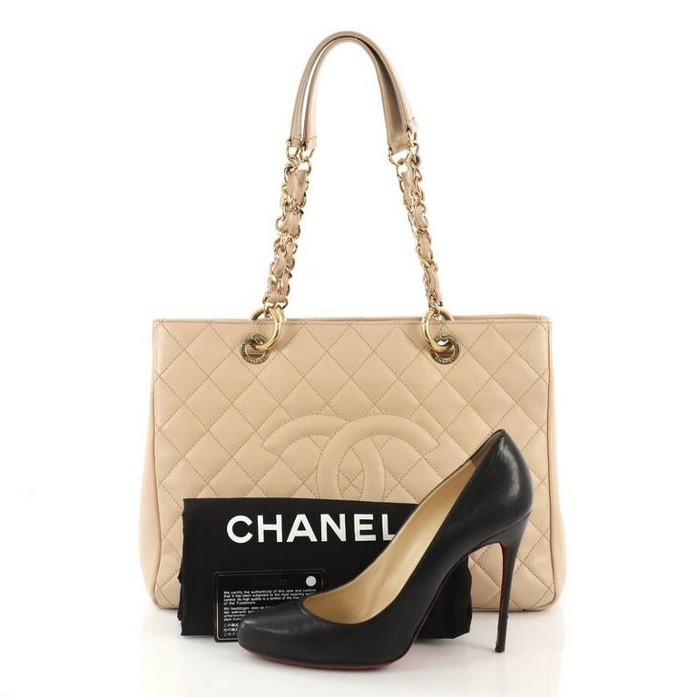 e2c56e7f2010 This Chanel Grand Shopping Tote Quilted Caviar, crafted in light beige quilted  caviar leather,