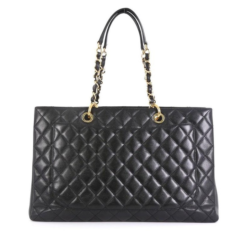 Black Chanel Grand Shopping Tote Quilted Caviar XL For Sale
