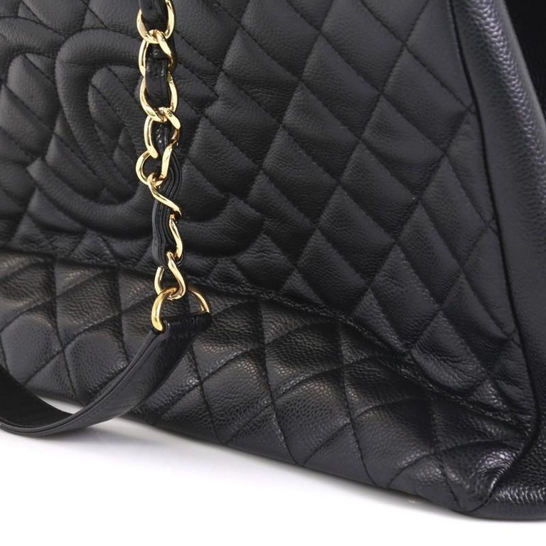 Women's Chanel Grand Shopping Tote Quilted Caviar XL For Sale