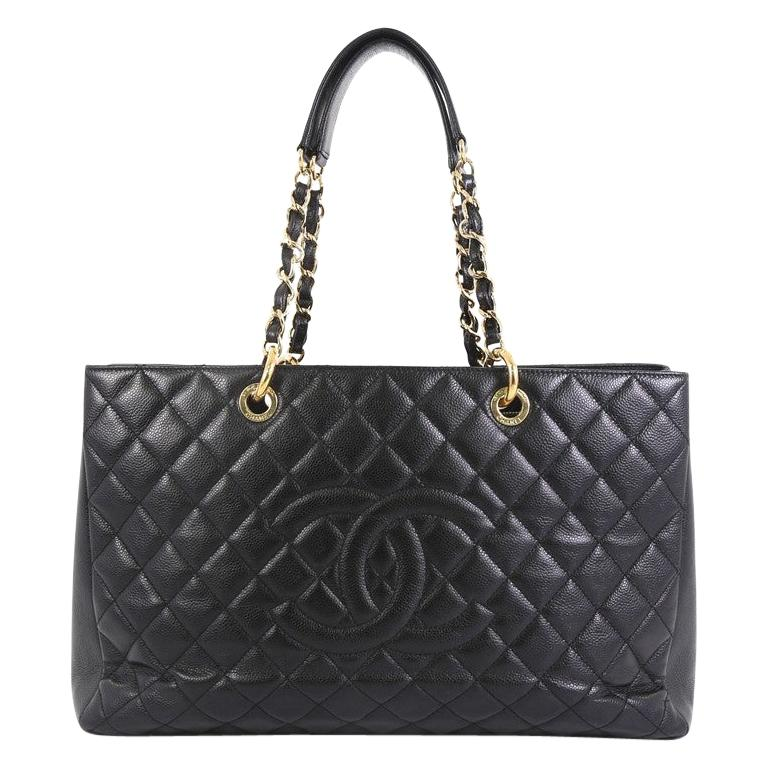 Chanel Grand Shopping Tote Quilted Caviar XL For Sale