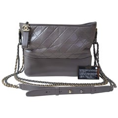 Chanel Gray Aged Calfskin Gabriel Hobo Bag