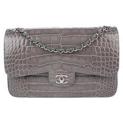 Chanel Gray Alligator Exotic Leather Silver Largee Evening Shoulder Flap Bag