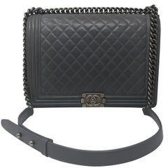 Chanel Gray Large Boy Bag