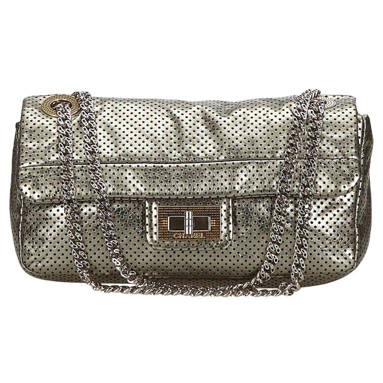 4c19b462b46e Chanel Gray Perforated Leather Flap Bag at 1stdibs