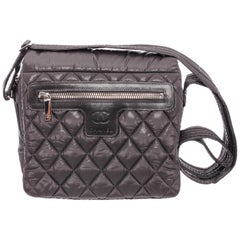 Chanel Gray Quilted Nylon Medium Coco Cocoon Messenger Bag