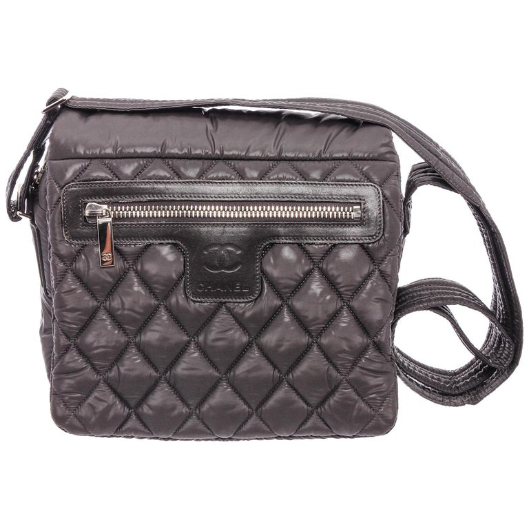 Chanel Gray Quilted Nylon Medium Coco Cocoon Messenger Bag For Sale