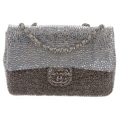 Chanel Gray Silver Gunmetal Suede Crystal Small Evening Shoulder Flap Bag in Box
