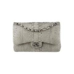 Chanel Gray Snakeskin Exotic Skin Leather Silver Evening Shoulder Flap Bag