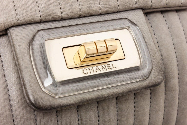 Chanel Gray Vertical Quilted Leather Flap Shoulder Bag In Excellent Condition For Sale In Irvine, CA