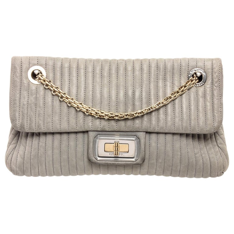 Chanel Gray Vertical Quilted Leather Flap Shoulder Bag For Sale