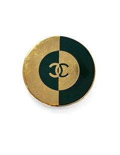 Chanel Green & Goldtone CC Brooch Pin