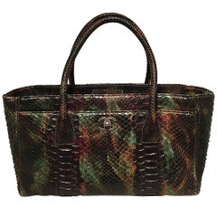 Chanel Green and Brown Multicolor Python Snakeskin Cerf Tote Handbag