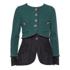 Chanel Green & Black Tweed Double Layer Jacket S
