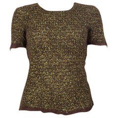 CHANEL green & brown mohair Short Sleeve Crewneck Sweater 40 M