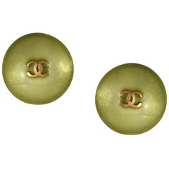 Chanel Green CC Button Earrings