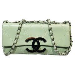 "Chanel Green ""CC"" Silver hardware Stitching Shoulder Bag"