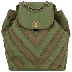 Chanel Green Chevron Pattern Cruise Coco Cuba Collection Backpack